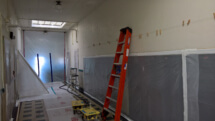 Second floor hallway all wrapped up